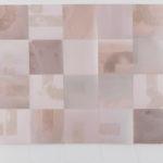 """Box Breathe #1""; Silver gelatin photographic chemigrams, thread; 16"" x 28""; 2020"