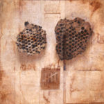 """Countdown""; Hand-colored inkjet photograph on tea bags, mounted on wood; 12"" x 12"" x 1.5""; 2011"