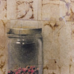 """Effortless"" (detail 2); Hand-colored inkjet photograph on tea bags, mounted on wood; 24"" x 18"" x 1.5""; 2015"