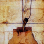 """First Core"" (detail 1); Hand-colored inkjet photograph on tea bags, mounted on wood; 24"" x 20"" x 1.5""; 2010"