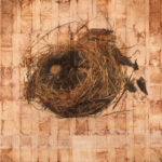 """Fragile Home 1""; Hand-colored inkjet photograph on tea bags, mounted on wood; 24"" x 24"" x 1.5""; 2010"