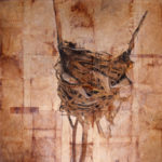 """Fragile Home 2""; Hand-colored inkjet photograph on tea bags, mounted on wood; 12"" x 12"" x 1.5""; 2011"