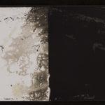 """Leaving Piece"" 2/95; Silver gelatin photographic chemigrams, thread; 15"" x 5"" each pre-sewn; 2016; Asheville Area Arts Council Gallery at the Grove Arcade, Asheville, NC"