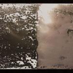 """Leaving Piece"" 5/95; Silver gelatin photographic chemigrams, thread; 15"" x 5"" each pre-sewn; 2016; Asheville Area Arts Council Gallery at the Grove Arcade, Asheville, NC"