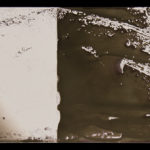 """Leaving Piece"" 6/95; Silver gelatin photographic chemigrams, thread; 15"" x 5"" each pre-sewn; 2016; Asheville Area Arts Council Gallery at the Grove Arcade, Asheville, NC"