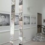 """""""Leaving Piece""""; Silver gelatin photographic chemigrams, thread; 5 sections, 5"""" x 24' each; 2016; Asheville Area Arts Council Gallery at the Grove Arcade, Asheville, NC"""