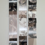 """Mantra #2""; Silver gelatin photographic chemigrams, wood, metal; 37"" x 21"" x 3""; 2018"