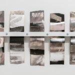 """Mantra #3""; Silver gelatin photographic chemigrams, wood, metal; 20"" x 39"" x 3""; 2019"
