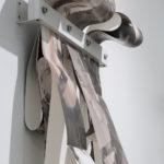 """Mantra #4"" (detail 1); Silver gelatin photographic chemigrams, wood, thread, metal; 62"" x 21"" x 9""; 2019"