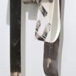 """Mantra #4"" (detail 2); Silver gelatin photographic chemigrams, wood, thread, metal; 62"" x 21"" x 9""; 2019"