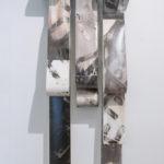 """Mantra #4""; Silver gelatin photographic chemigrams, wood, thread, metal; 62"" x 21"" x 9""; 2019"