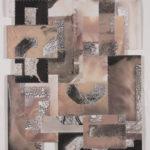 """Mantra #5 (Persist)""; Silver gelatin photographic chemigrams, thread; 20"" x 16""; 2020"