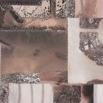 """Mantra #6 (Persist)"" (detail 1); Silver gelatin photographic chemigrams, thread; 20"" x 16""; 2020"