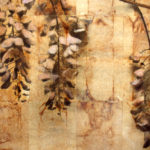 """March"" (detail 2); Hand-colored inkjet photograph on tea bags, mounted on wood; 24"" x 20"" x 1.5""; 2010"