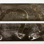 """""""Message #1""""; Silver gelatin photographic chemigrams, nails; 10.5"""" x 22"""" x 1""""; 2015"""