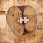 """Missing Piece 2""; Hand-colored inkjet photograph on tea bags, mounted on wood; 12"" x 12"" x 1.5""; 2011"
