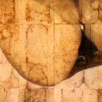 """Missing Piece"" (detail 1); Hand-colored inkjet photograph on tea bags, mounted on wood; 24"" x 24"" x 1.5""; 2010"