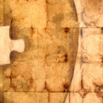 """Missing Piece"" (detail 2); Hand-colored inkjet photograph on tea bags, mounted on wood; 24"" x 24"" x 1.5""; 2010"