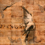 """Song for the Lost""; Hand-colored inkjet photograph on tea bags, mounted on wood; 24"" x 20"" x 1.5""; 2010"