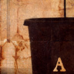 """Three Tries"" (detail 1); Hand-colored inkjet photograph on tea bags, mounted on wood; 20"" x 24"" x 1.5""; 2010"