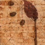 """Two States""; Hand-colored inkjet photograph on tea bags, mounted on wood; 24"" x 20"" x 1.5""; 2010"