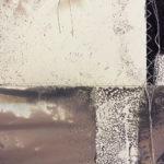 """Vague Word #2"" (detail 2); Silver gelatin photographic chemigrams, thread, nails; 25"" x 58"" x 1""; 2018"
