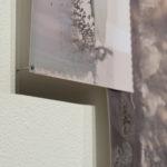 """Vague Word #4"" (detail 1); Silver gelatin photographic chemigrams, thread, nails; 29"" x 47"" x 1""; 2018"