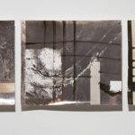"""Bits and Pieces″; Silver gelatin photographic chemigrams, nails; 8"" x 47.5"" x 1""; 2015"