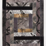 """""""Pattern-Speak #2""""; Silver gelatin photographic chemigram collage, thread; 15"""" x 11""""; 2017"""