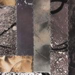 """""""Pattern-Speak #2"""" (detail 1); Silver gelatin photographic chemigram collage, thread; 15"""" x 11""""; 2017"""