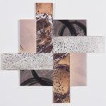 """""""Pattern-Speak #5""""; Silver gelatin photographic chemigram collage, thread; 6"""" x 6""""; 2018"""