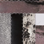 """""""Pattern-Speak #7"""" (detail 1); Silver gelatin photographic chemigram collage, thread; 18"""" x 16""""; 2018"""